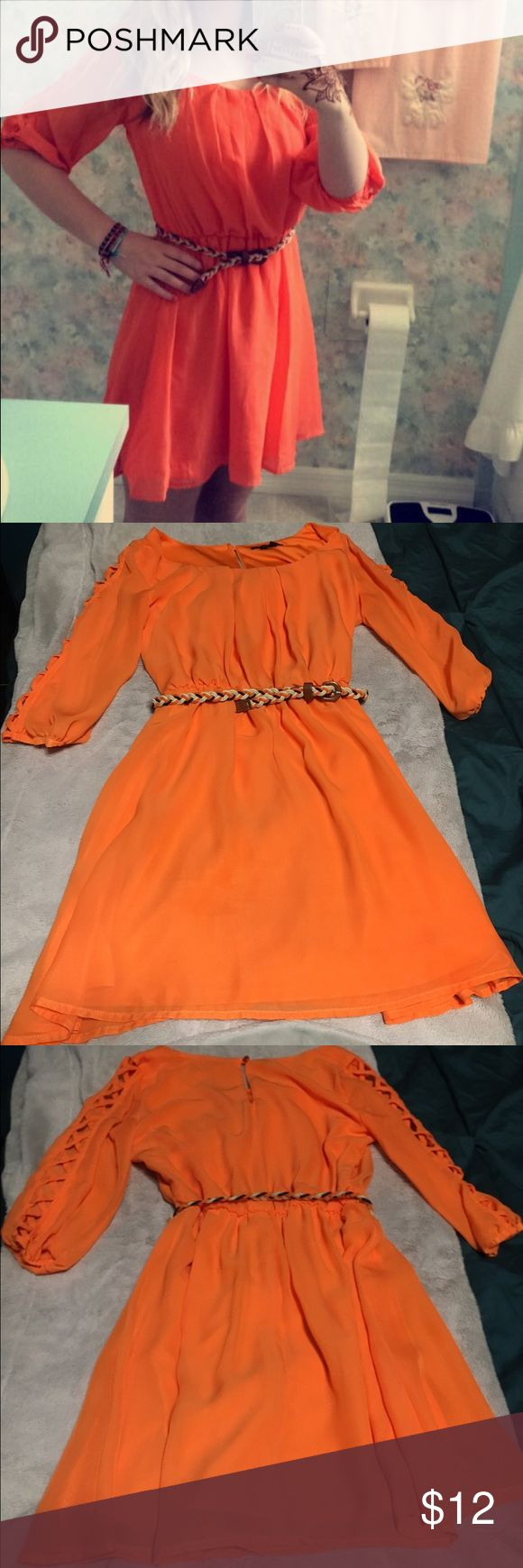 Orange summer dress bright orange summer dress, worn once for dinner in Florida. Very comfy and cute for summer. Dresses Long Sleeve
