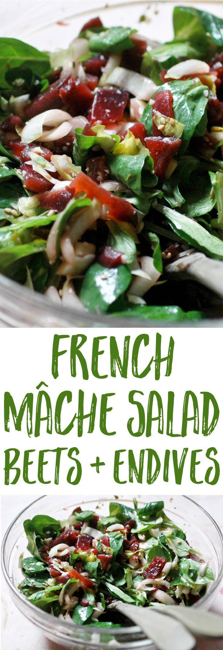 A super French mâche salad recipe to use lamb's ear lettuce, with beets and endives. A fresh and flavorful way to get your greens in during the colder months!