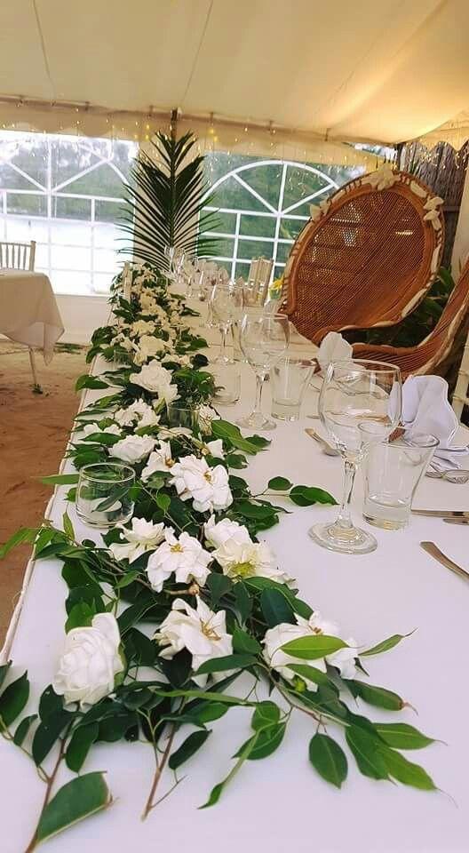 Nautilus Resort Rarotonga - reception beach marque head table setting