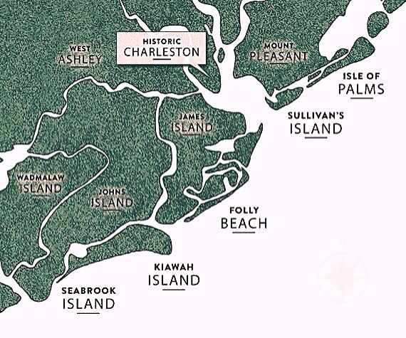 Map of Charleston's Five Beaches:  Isle of Palms, Sullivan's Island, Folly Beach, Kiawah Island & Seabrook Island | South Carolina