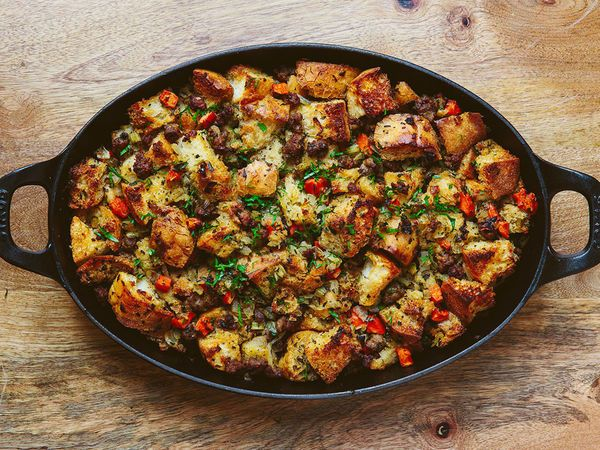 This rustic Thanksgiving stuffing from Thomas Keller's Bouchon Bistro is made with crusty Italian bread and laced with fresh herbs, aromatics, and sausage.