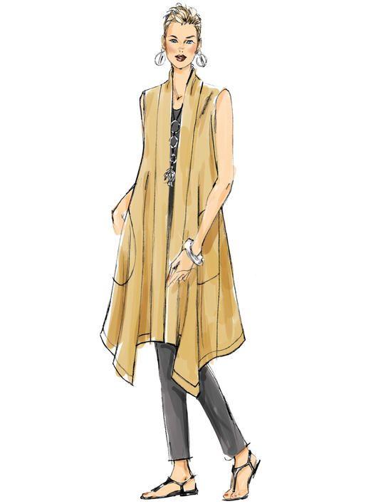 Sandra Betzina for Vogue Patterns V1540 MISSES' BANDED COAT AND VEST
