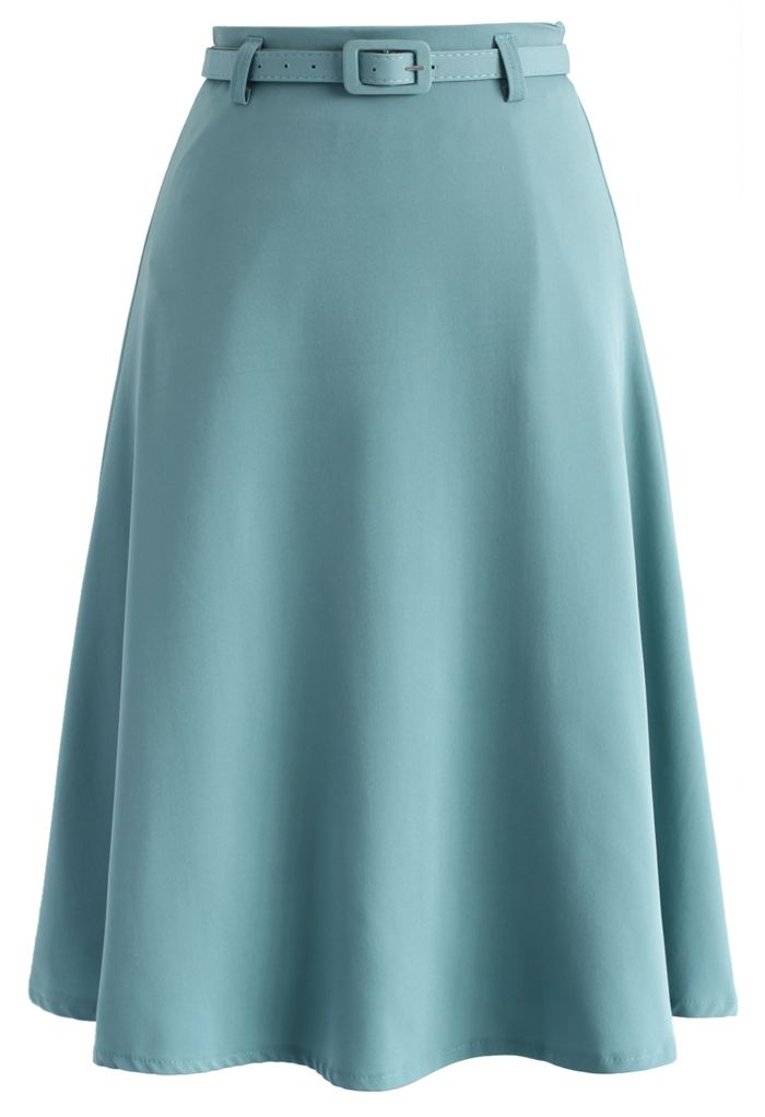 Savvy Basic Belted A-line Skirt in Steel Blue - Skirt - Bottoms - Retro, Indie and Unique Fashion