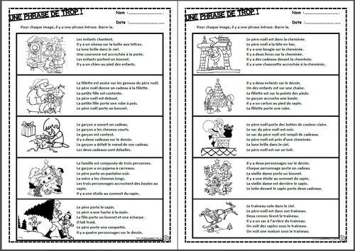 Une phrase en trop, lire, lecture, compréhension, phrases, images, intrus, cycle 2, ce1, ce2, dixmois, noel, hiver