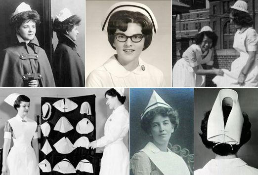 Love the vintage nursing gear but I am so glad I don't have to wear this to work.....