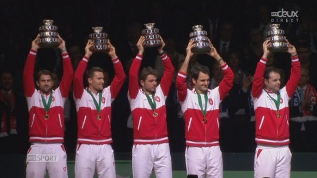 Emotional moment with the Swiss National Anthem....  (Davis cup 2014)