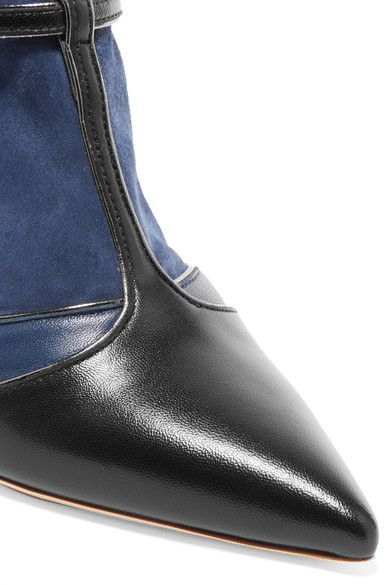 Malone Souliers - Sadie Suede And Leather Sock Boots - Navy