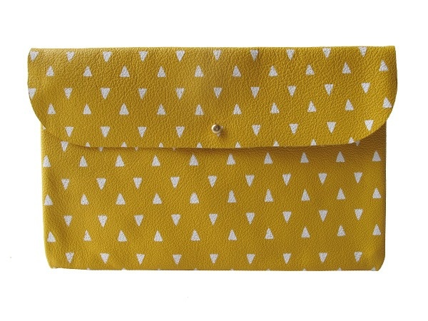 Falcon Wright Clutch- Mustard Leather with White Triangles