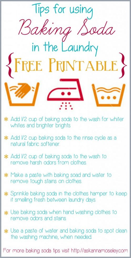 Tons of Baking Soda Laundry Tips!  With Free Printable!!