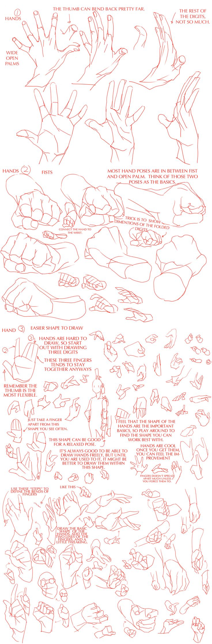 """via teamtrashcan.tumblr.com (unable to pin from there) """"Hands Tutorials for Those Who Hates Drawing Them""""   """"Original can be found on Pixiv, I just translated it. I figured it can be helpful to some. Here's a combined version for those who prefer one giant tutorial."""""""