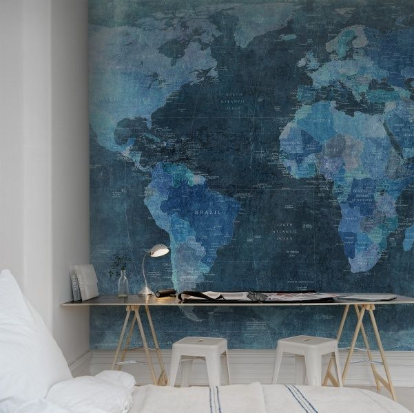 World Map | Behang REBEL WALLS #workspace #favourites #blue