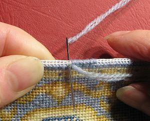 Free Tutorial - How to hem dollhouse needlepoint carpets
