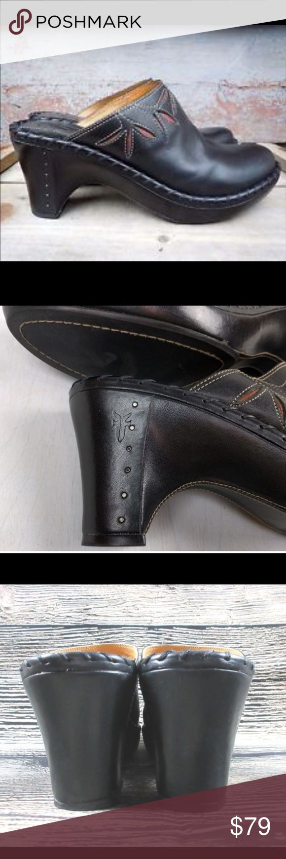 FRYE LEATHER CLOGS Black leather mule clogs with flower cutouts. Super cute and very comfy! In excellent condition! Frye Shoes Mules & Clogs