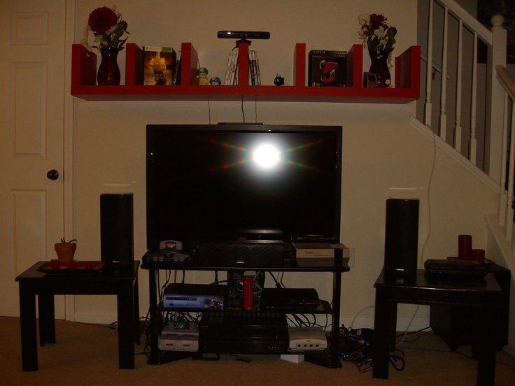 Ikea Lack Wall Shelf Unit Designs2go Black Glass And Wood Tv Stand Mess Of Game Consoles Red