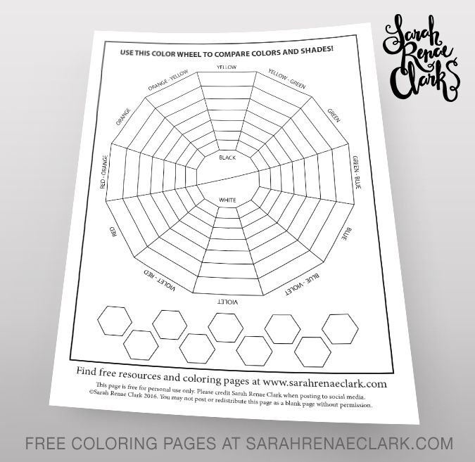 Color Comparison Wheel | Printable color testing template from www.sarahrenaeclark.com