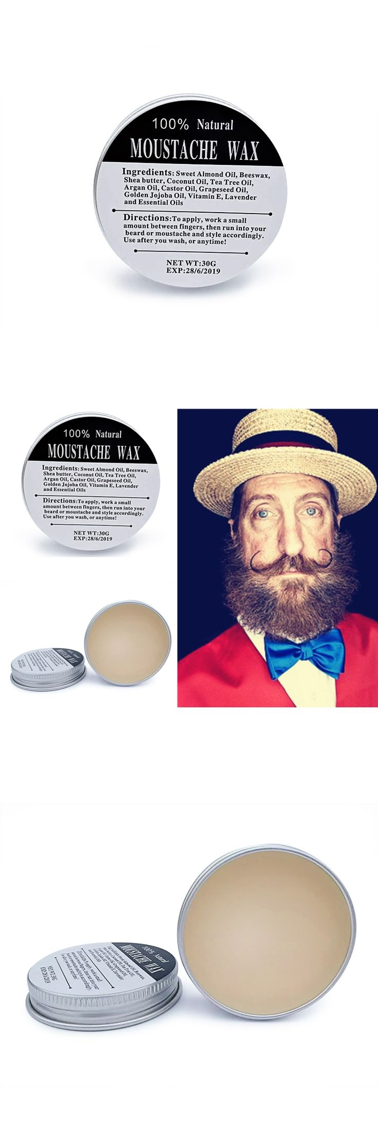 Preboily Beard Wax For Beard Styling Moustache Wax Beard Oil Conditioner Leave in Styling Moisturizing Smoothing Effect 30G