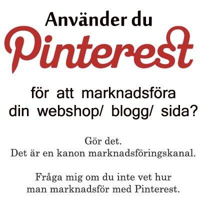 Använder du Pinterest för att marknadsföradin webshop/ blogg/ sida? Fråga mig hur om du inte vet det. http://driva-webshop.se/kontakta-mig-2