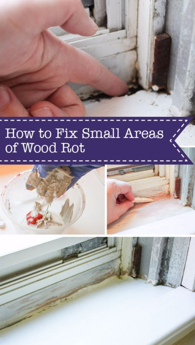 33 Home Repair Secrets From the Pros - Fix Small Areas Of Wood Rot - Home Repair Ideas, Home Repairs On A Budget, Home Repair Tips, Living Room, Bedroom, Kitchen Repair, Home Improvement, Quick And Easy Home Tips http://diyjoy.com/diy-home-repair-secrets