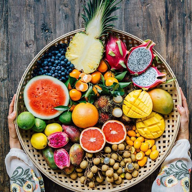 When life hands you fruits…. In case you are wondering what they are: (Left to right, top to bottom) - Blueberry, pineapple , dragon fruit - Watermelon , satsuma, mango - Lime, lemon  , grapefruit, rambutan, kumquat - Pricky pear, Longan