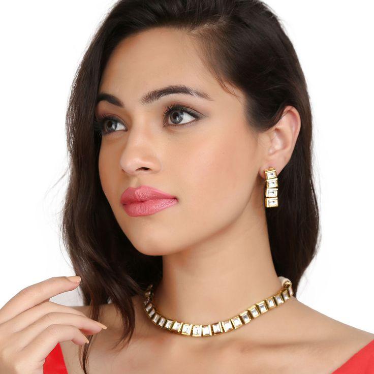 Kundan Necklace TAK44 #Kushals #Jewellery #Fashion #Indian #Jewellery #Necklace #Earrings #Designer #Fashion #choker #chain #Kundan