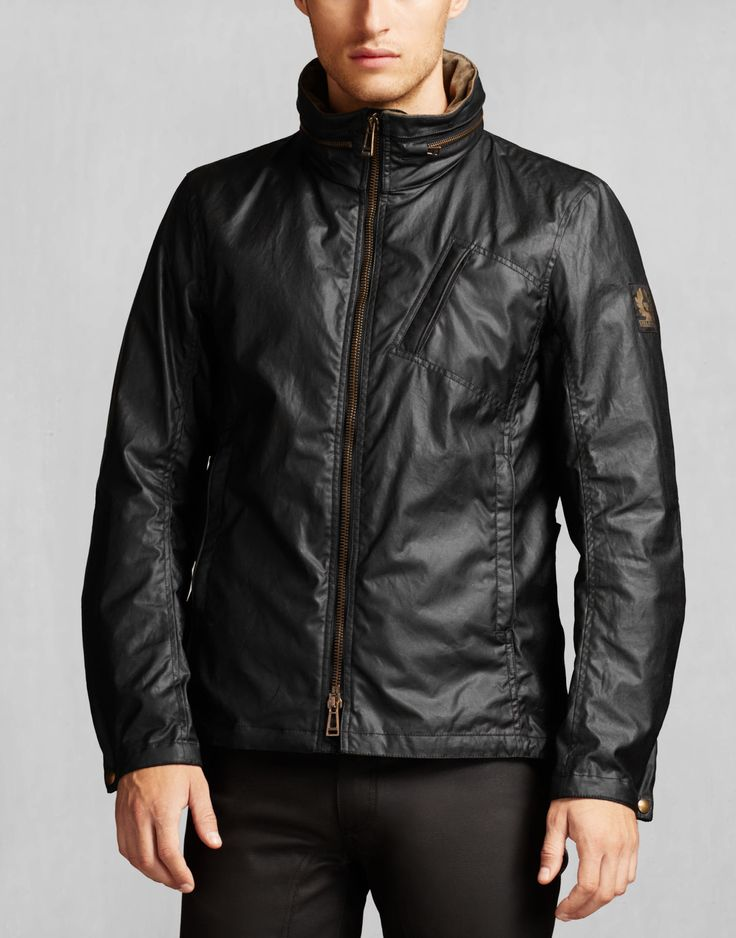 Crafted in 6oz waxed cotton, this premium black jacket conceals a hood in its collar offering two ways to wear. Shop the Citymaster jacket from Belstaff UK.
