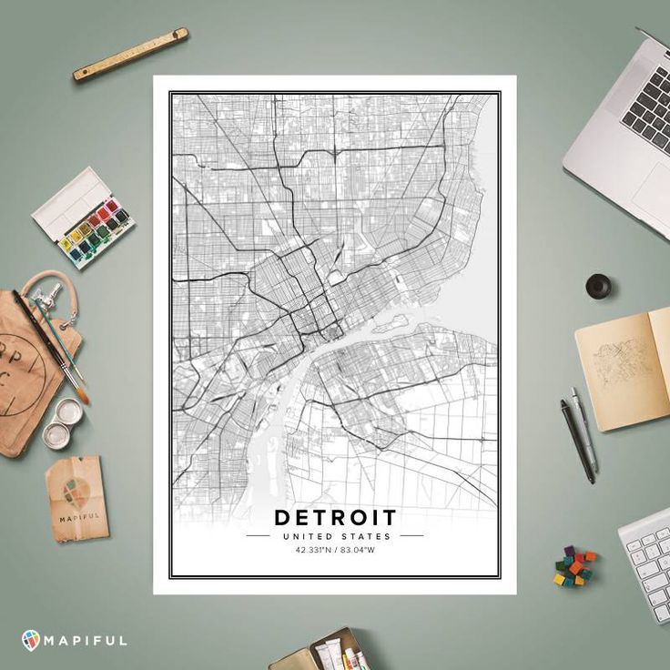 Detroit In World Map%0A A map poster from Mapiful com  A creative DIY tool to make your own