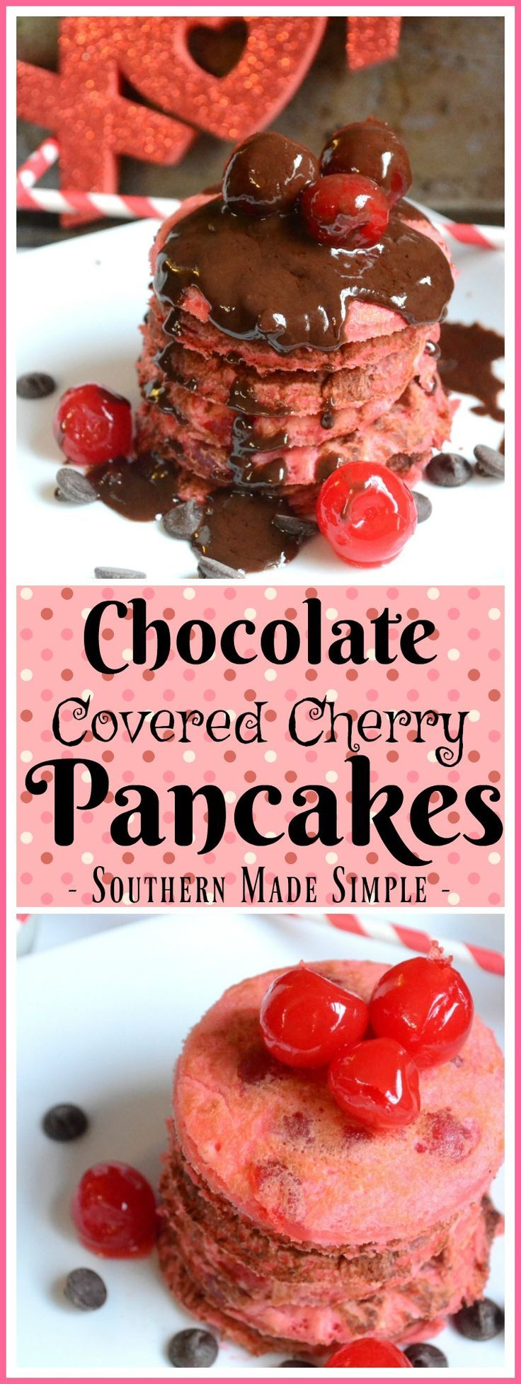 These chocolate covered cherry pancakes smothered in a creamy chocolate ganache are the PERFECT way to share a little love with others on Valentine's Day this year!