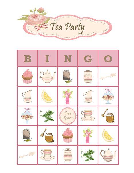 tea party bingo 30 printable bingo game cards for girls birthday bridal shower mothers day. Black Bedroom Furniture Sets. Home Design Ideas