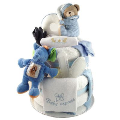 Beautifully Decorated Nappy Cake for Baby Boys. Order now at Baby Express!