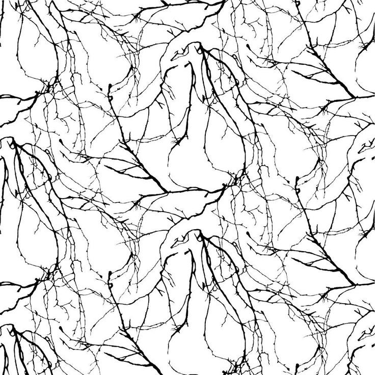 Oksat wallpaper, black. Design Riina Kuikka