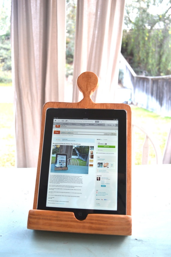 Monogrammed wooden kitchen iPad stand. Mom can easily browse recipes on Pinterest :)