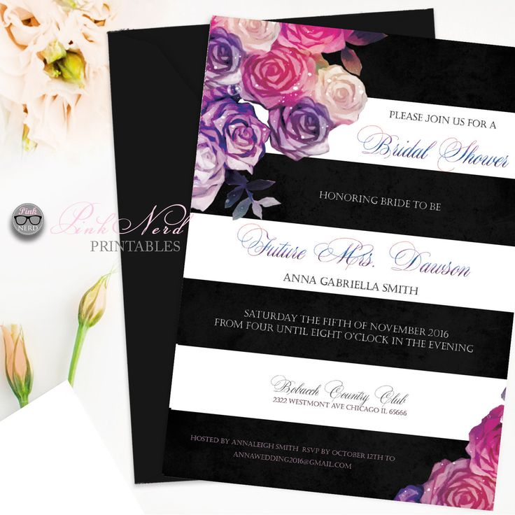 recipe themed bridal shower invitation wording%0A Bridal shower black  u     white floral invitation