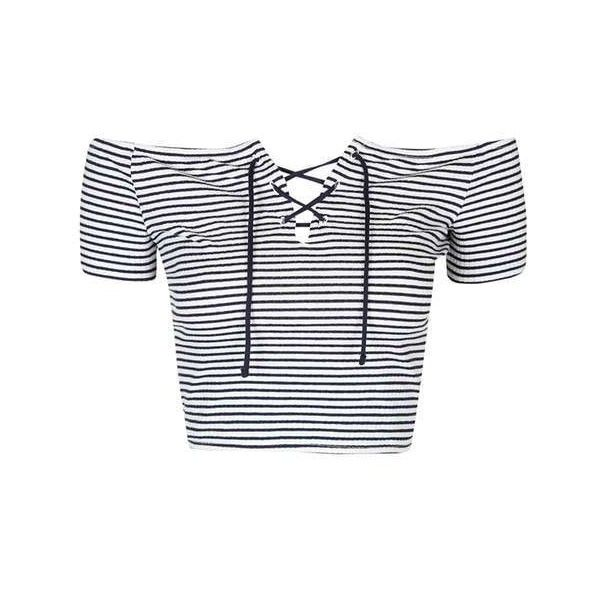 TopShop Tall Tie-Up Strappy Bardot Top (24 CAD) ❤ liked on Polyvore featuring tops, shirts, stripe shirt, stripe crop top, striped top, crop top and off shoulder tops