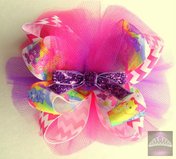 RTS Care Bears Inspired over the top hair bow for birthday party, party favor, theme party on Etsy, $8.43