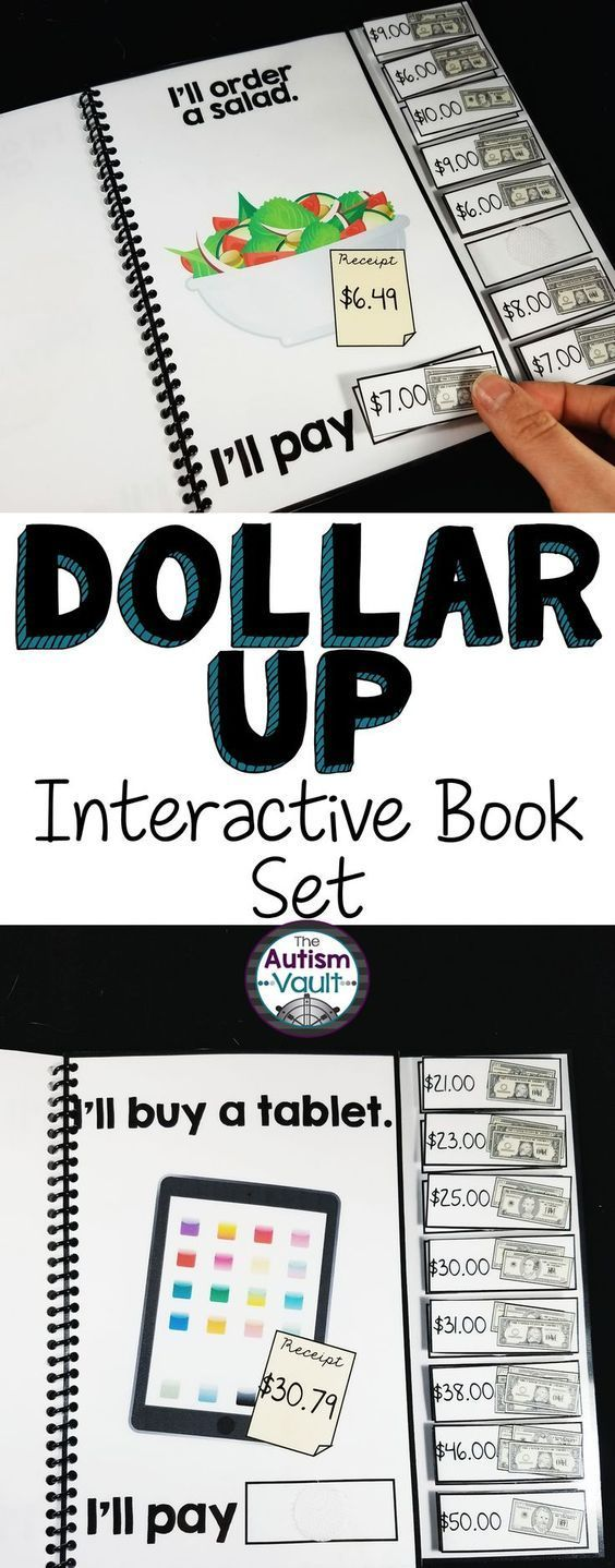 Here is a set of 4 adapted/interactive books to practice dollar more. Students can practice using dollar up/dollar more with these 10 page, color interactive books. Each books targets a different level of learning dollar more, so they can be used through