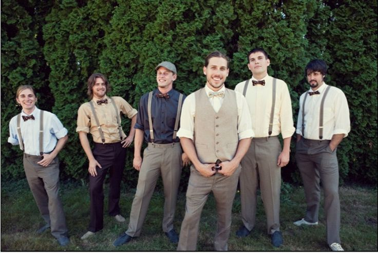 Viv Maybe If The Groom And Groomsmen Wont All Wear Same Pants They CAN Matching Shirts With Purple Suspenders Bow T