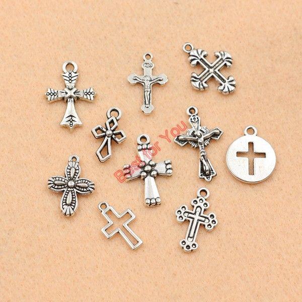 10 stks Gemengde Tibetaanse Verzilverd Kruis Jezus Charms Hangers Sieraden Maken Diy Charm Ambachten Handgemaakte m032