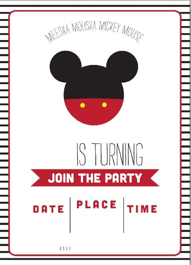 It's just a graphic of Witty Printable Mickey Mouse Invitations