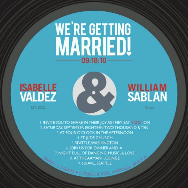 record wedding invitation - 28 images - teal orange vintage record ...