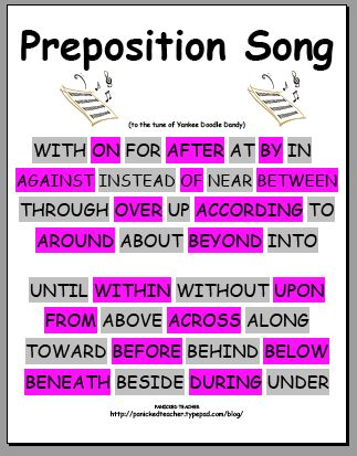 Preposition Song -- to the tune of Yankee Doodle Dandy