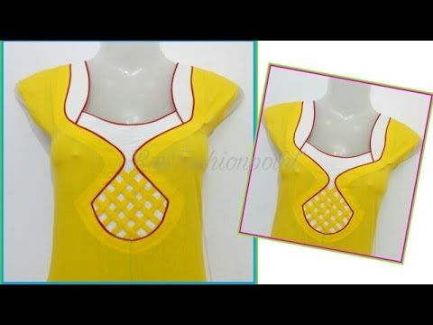 Strip & piping neck design cutting and stitching in Hindi