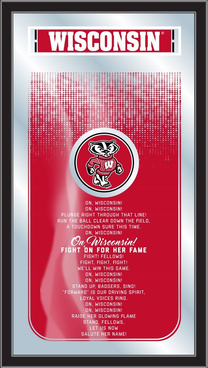 Fight Song Logo Mirror - University of Wisconsin Badgers