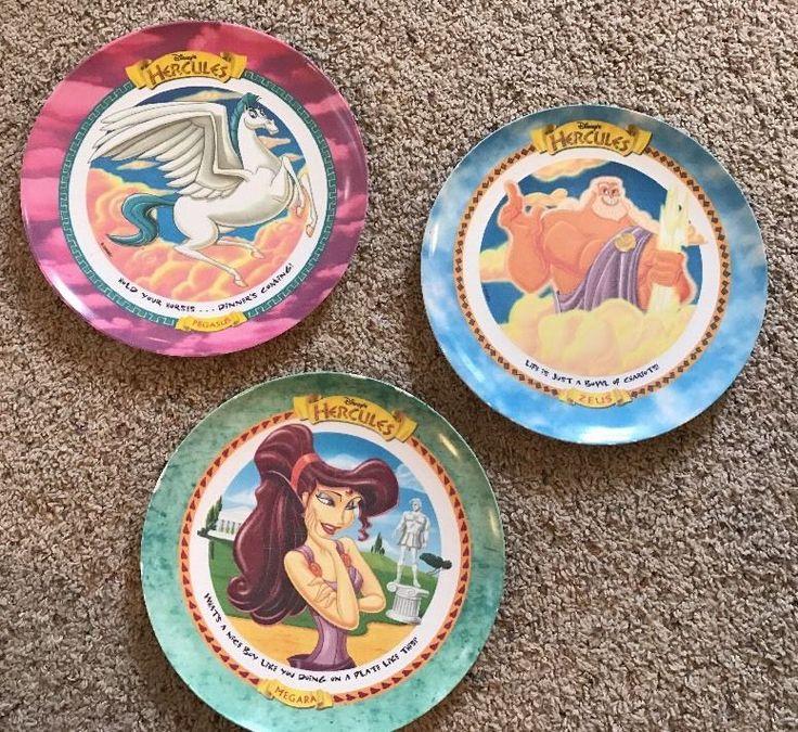 Lot 3 1997 Mcdonald's Disney Hercules Plastic Plates Zeus Megara Pegasus #4A  | eBay