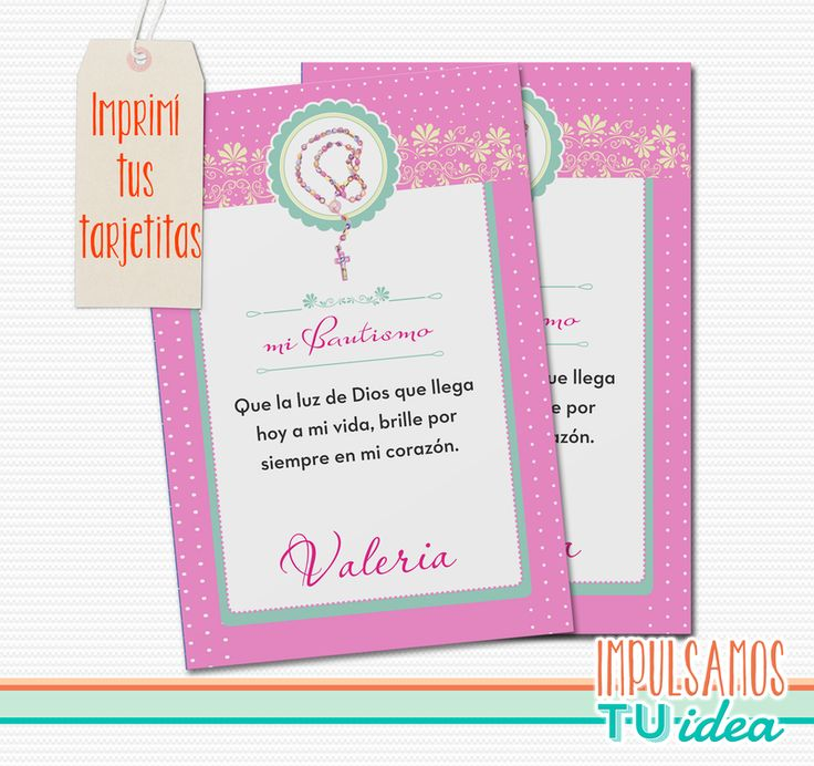 Bautismo Nena - Estampita para imprimir con rosario