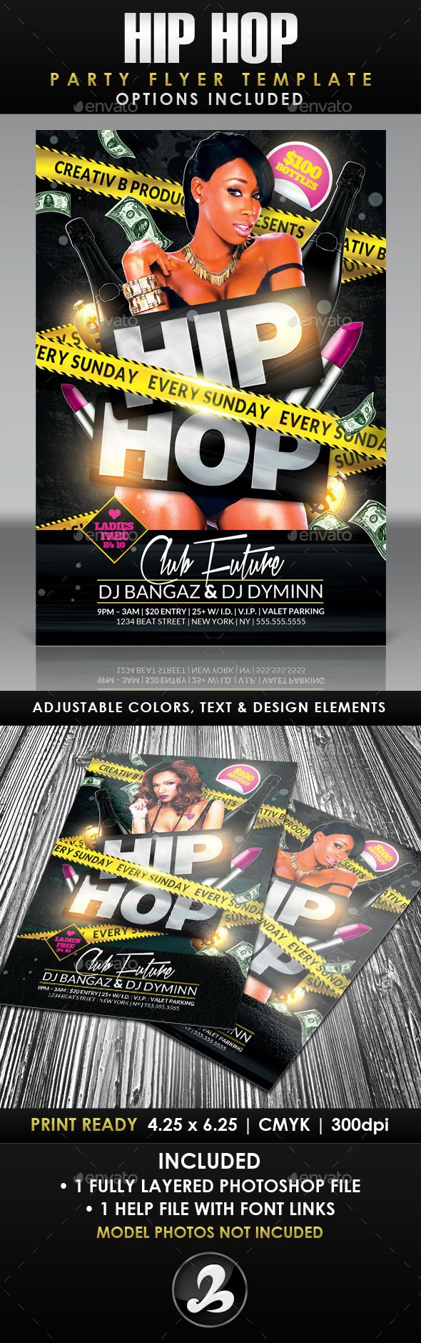 Hip Hop Party Flyer Template 2 — Photoshop PSD #urban #police tape • Available here → https://graphicriver.net/item/hip-hop-party-flyer-template-2/10470265?ref=pxcr