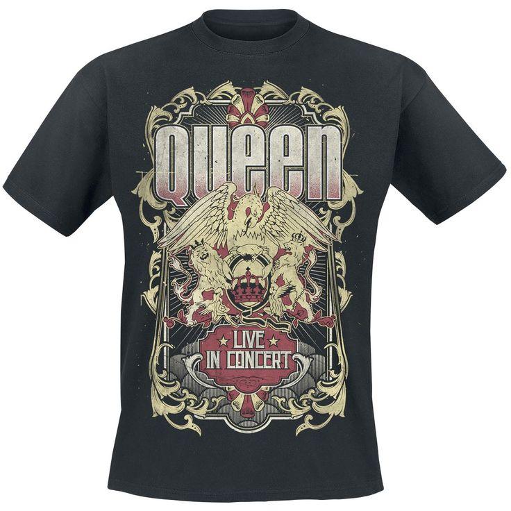 """Classica T-Shirt uomo nera """"Live In Concert - Flourish"""" dei #Queen con scollo tondo e ampia stampa frontale."""