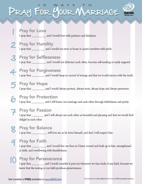 10 Ways to Pray for Your Marriage | iMOM @Debra Kerr Hofland