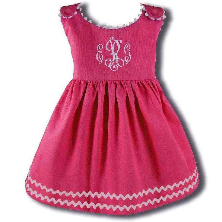 Adorable pink dress with white trim - and a monogram!