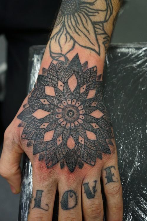 detailed leaf flower mandala blackwork tattoo ink. Black Bedroom Furniture Sets. Home Design Ideas