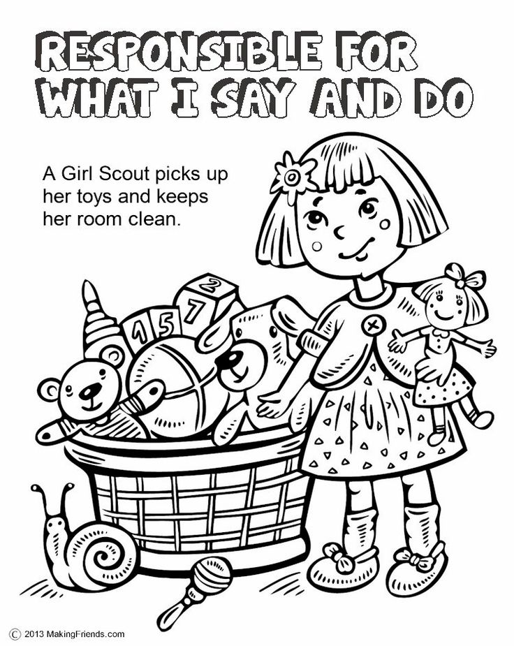 Girl Scouts Responsible for What I Say and Do. Print all the pages to make a coloring book to help learn the Girl Scout Law. Go onto MakingFriends.com to print them all!